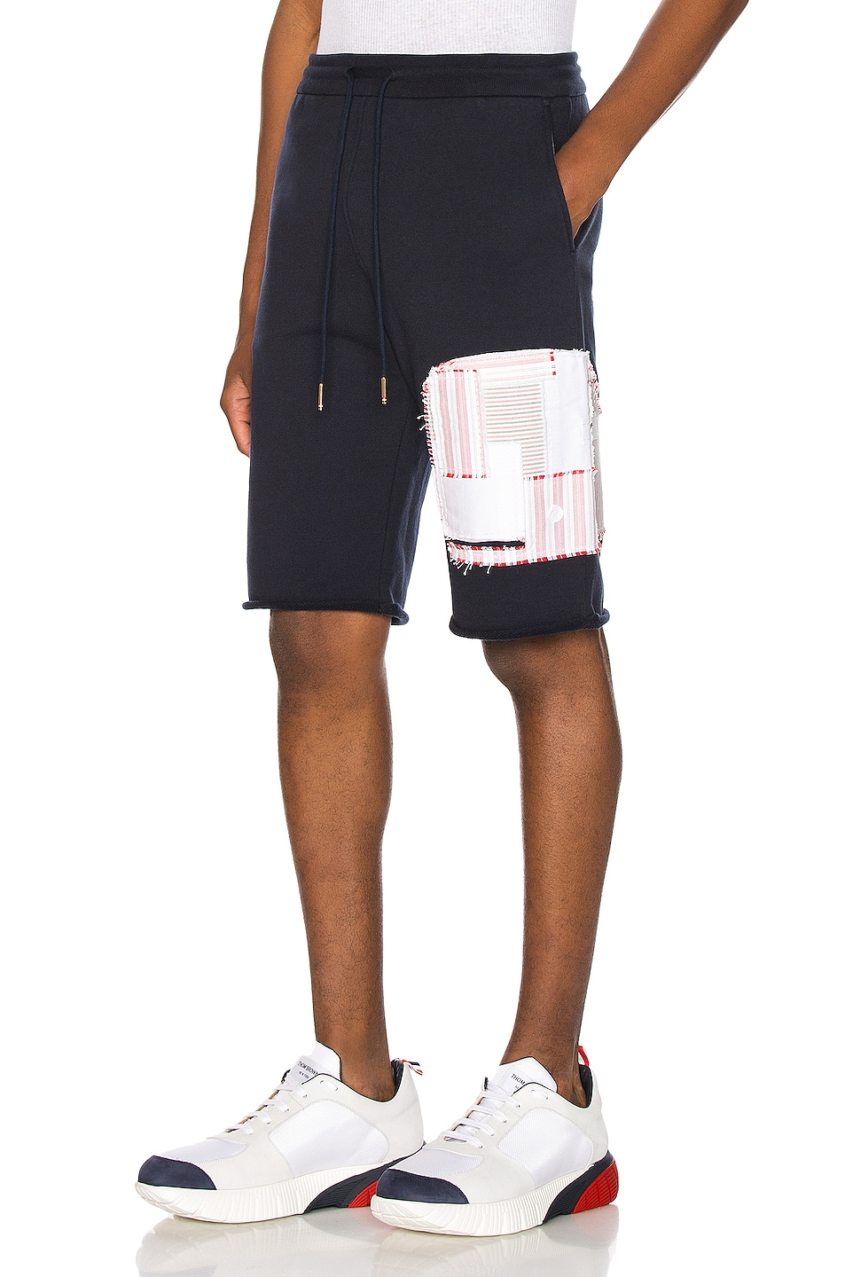 Image 3 of Thom Browne Cut Off Patchwork Sweat Shorts in Navy