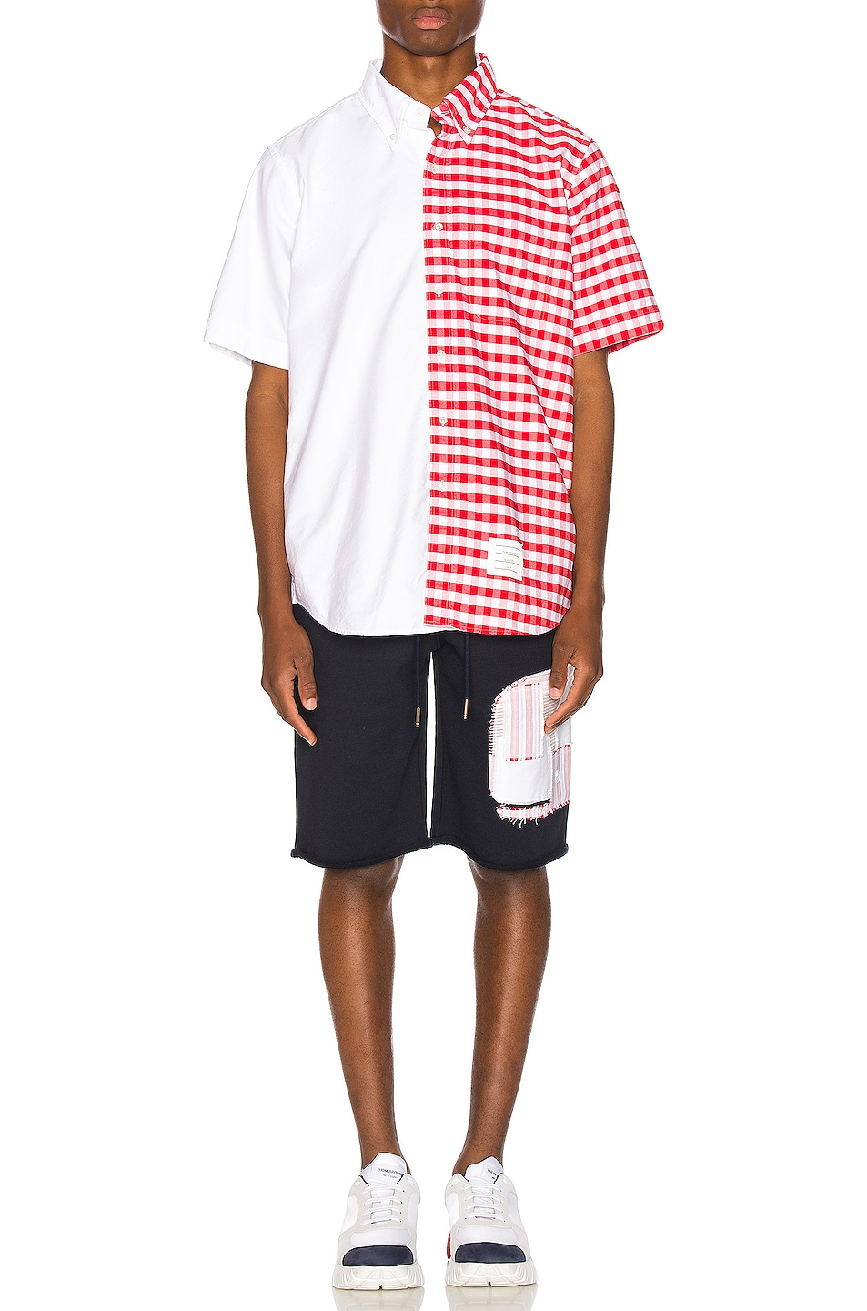 Image 5 of Thom Browne Cut Off Patchwork Sweat Shorts in Navy