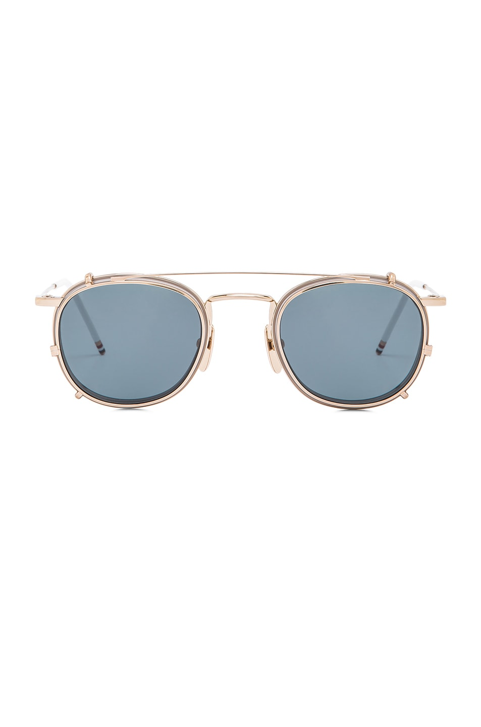 1bdf75de74 Image 1 of Thom Browne Clip On Sunglasses in 12K Gold   Grey