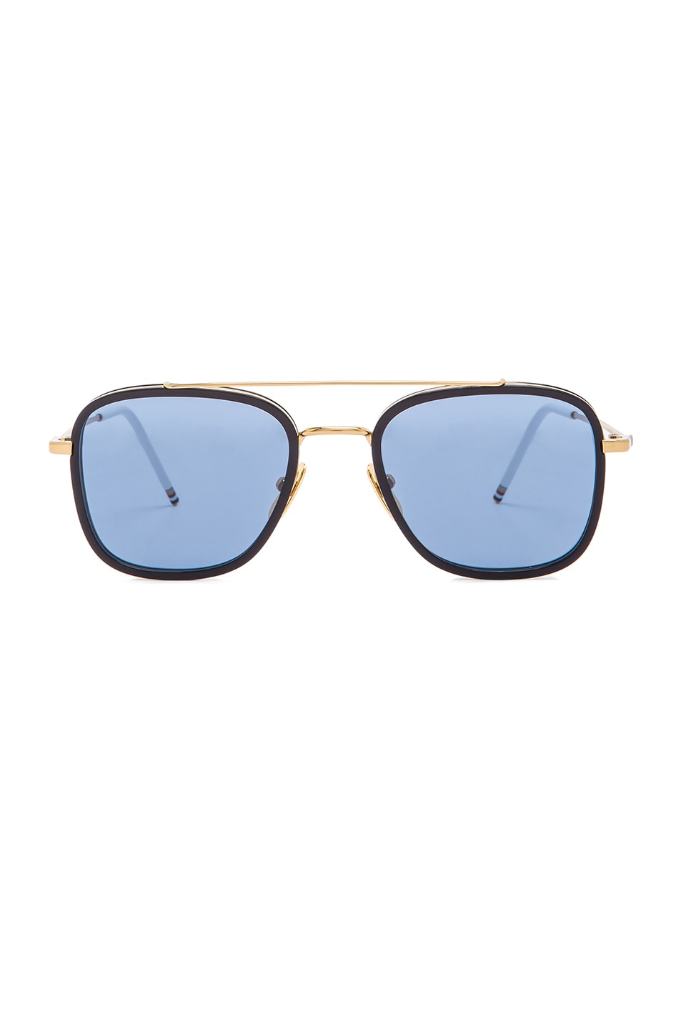 bd25eae8b3a Image 1 of Thom Browne Square Frame Sunglasses in 18K Gold   Navy