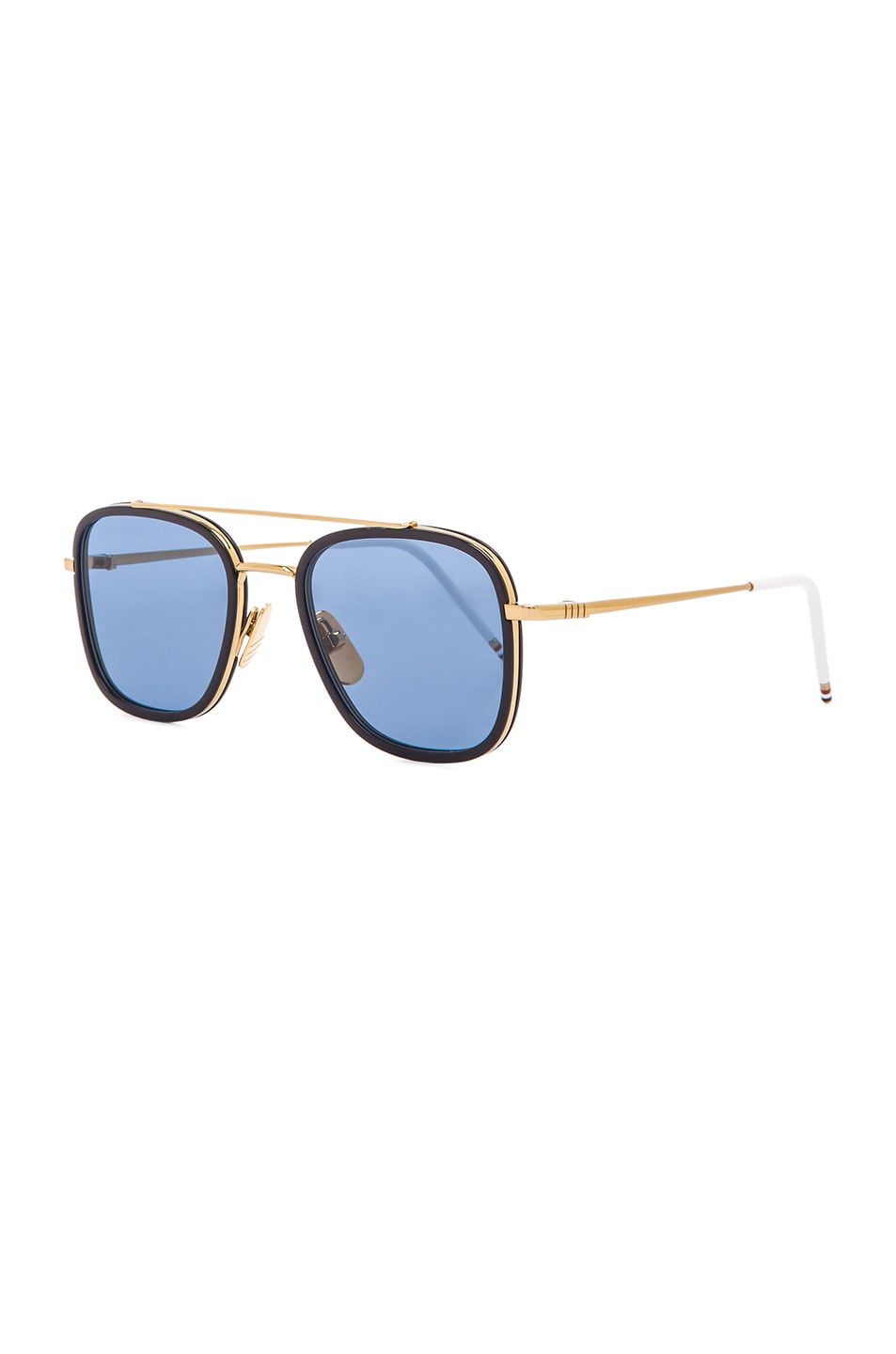 f7502e8dafd Image 2 of Thom Browne Square Frame Sunglasses in 18K Gold   Navy