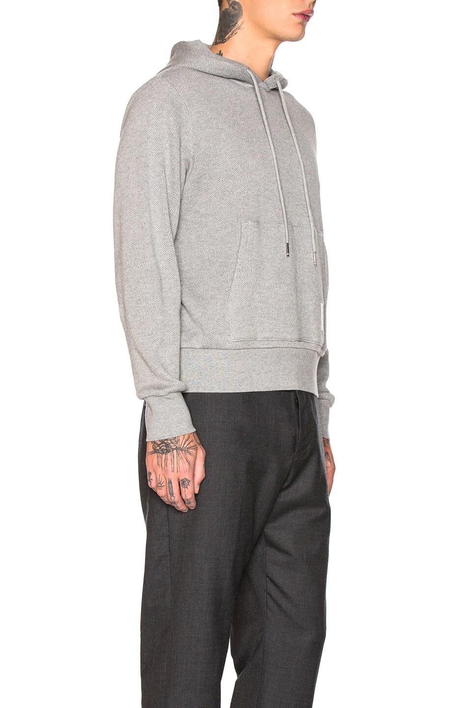 Image 2 of Thom Browne Honeycomb Pique Hoodie in Light Grey