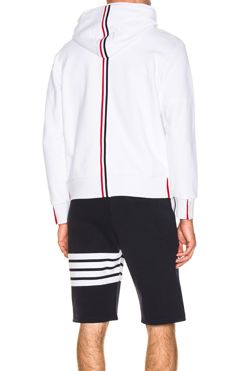 Image 1 of Thom Browne Backstripe Zip Hoodie in White