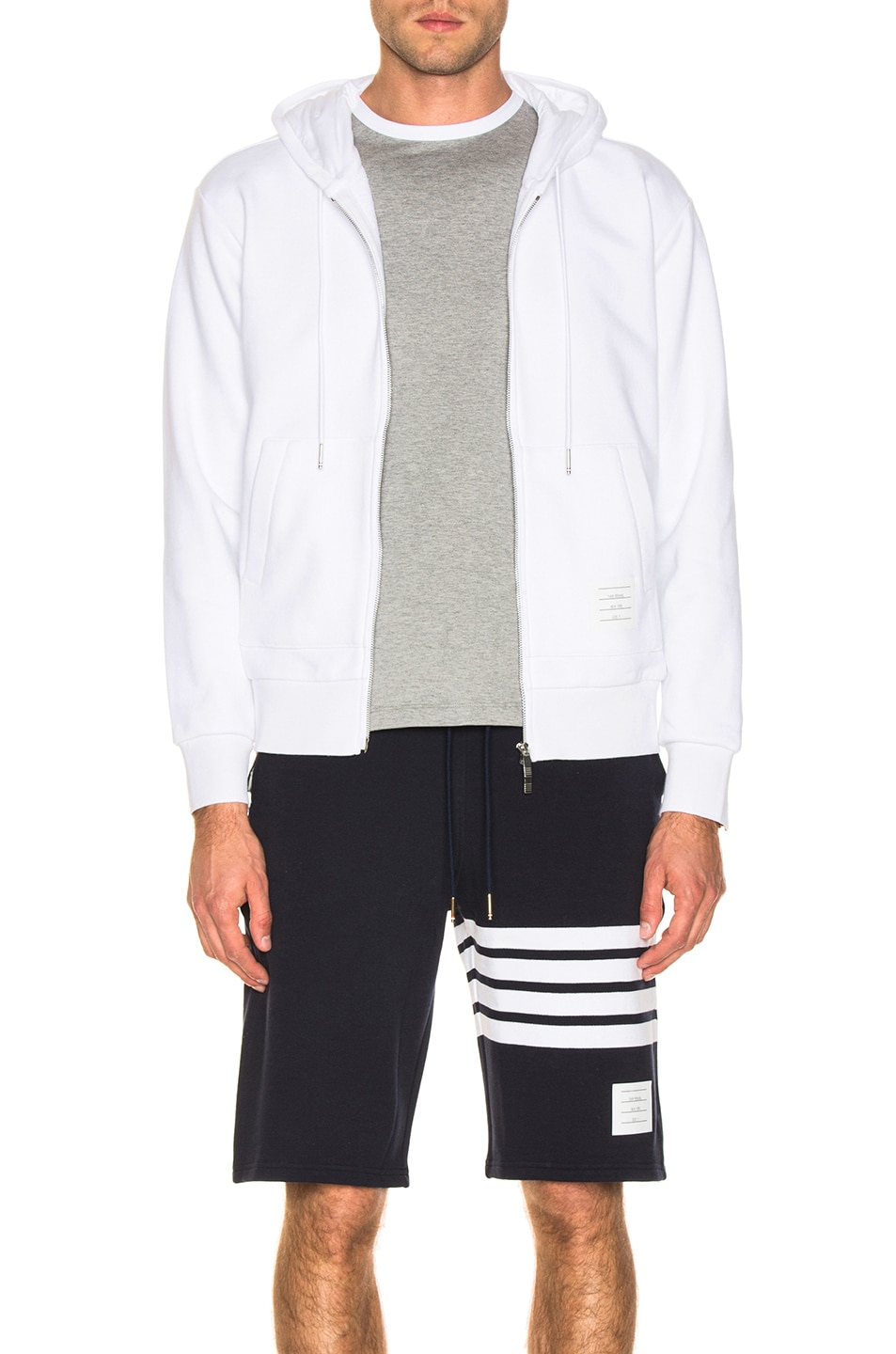 Image 2 of Thom Browne Backstripe Zip Hoodie in White