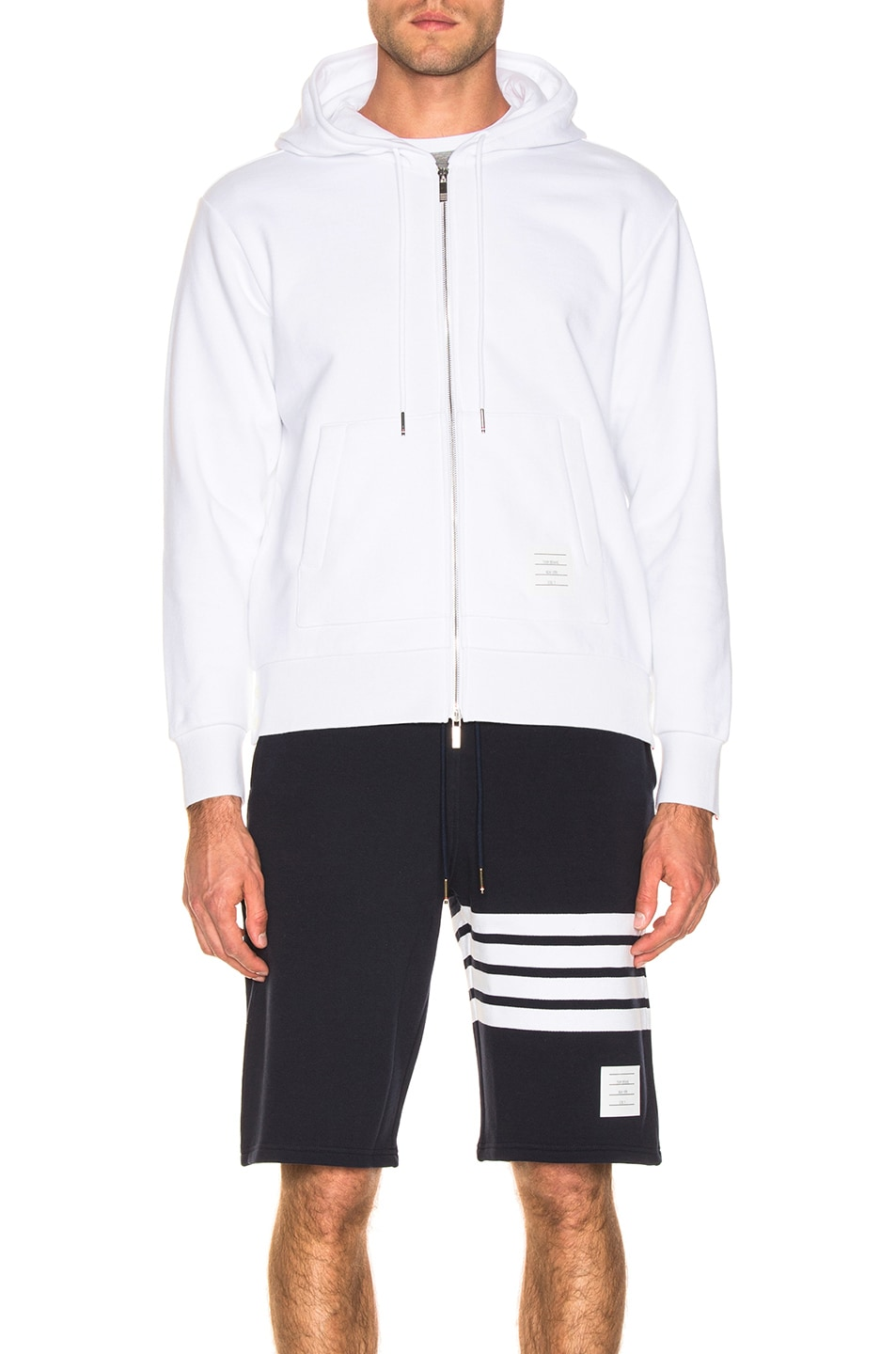 Image 3 of Thom Browne Backstripe Zip Hoodie in White