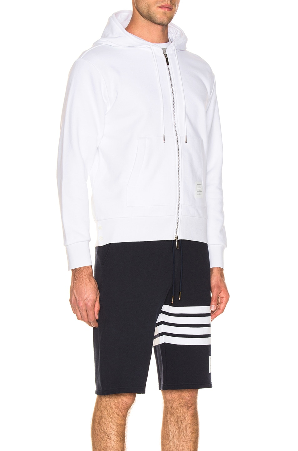Image 4 of Thom Browne Backstripe Zip Hoodie in White