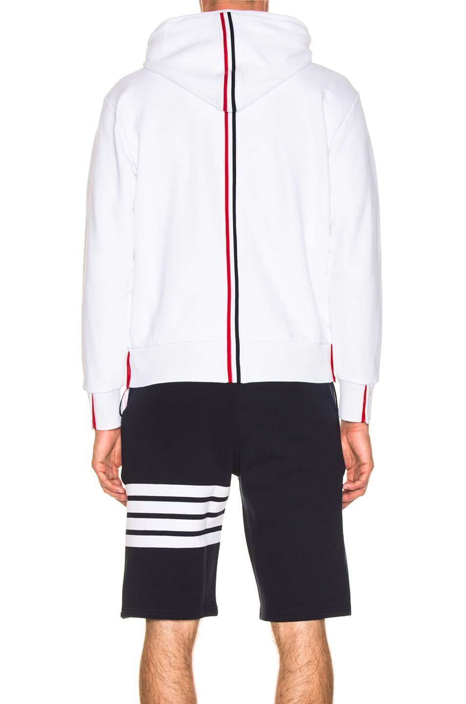 Image 5 of Thom Browne Backstripe Zip Hoodie in White