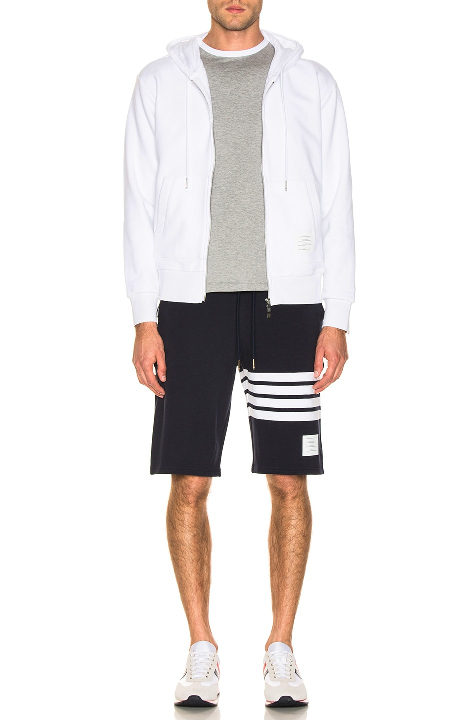 Image 6 of Thom Browne Backstripe Zip Hoodie in White