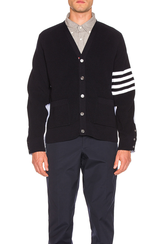 Image 2 of Thom Browne Half & Half Cardigan in Navy