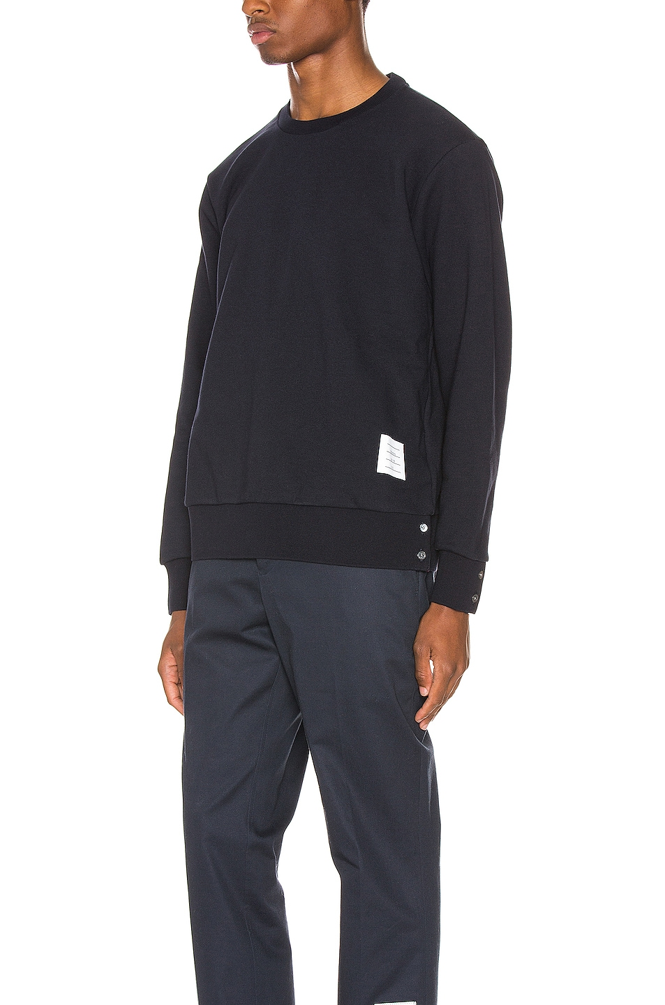 Image 4 of Thom Browne Striped Crewneck Pullover in Navy