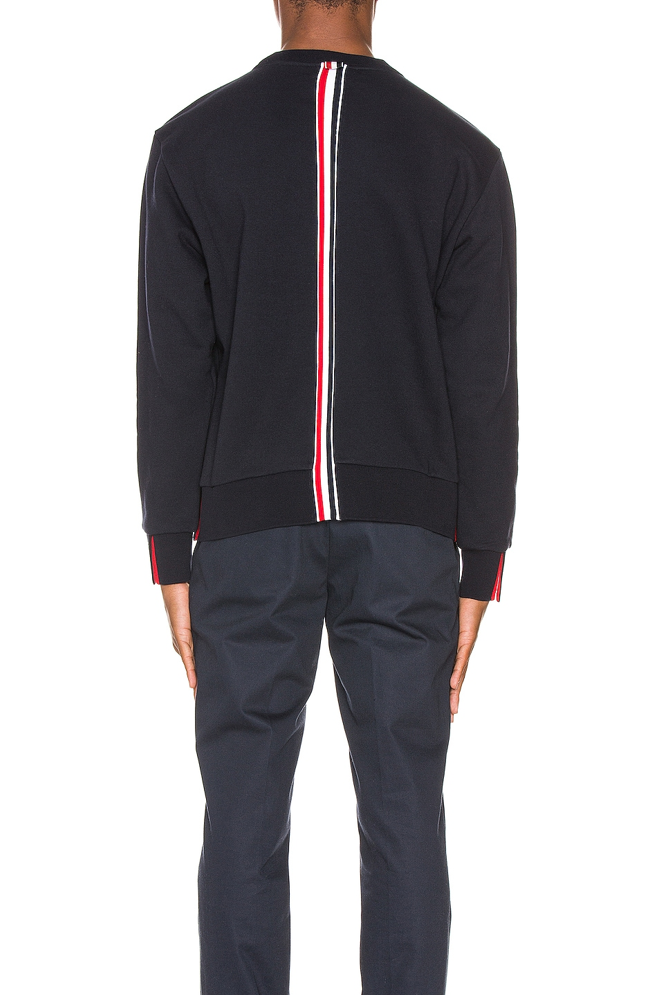 Image 5 of Thom Browne Striped Crewneck Pullover in Navy