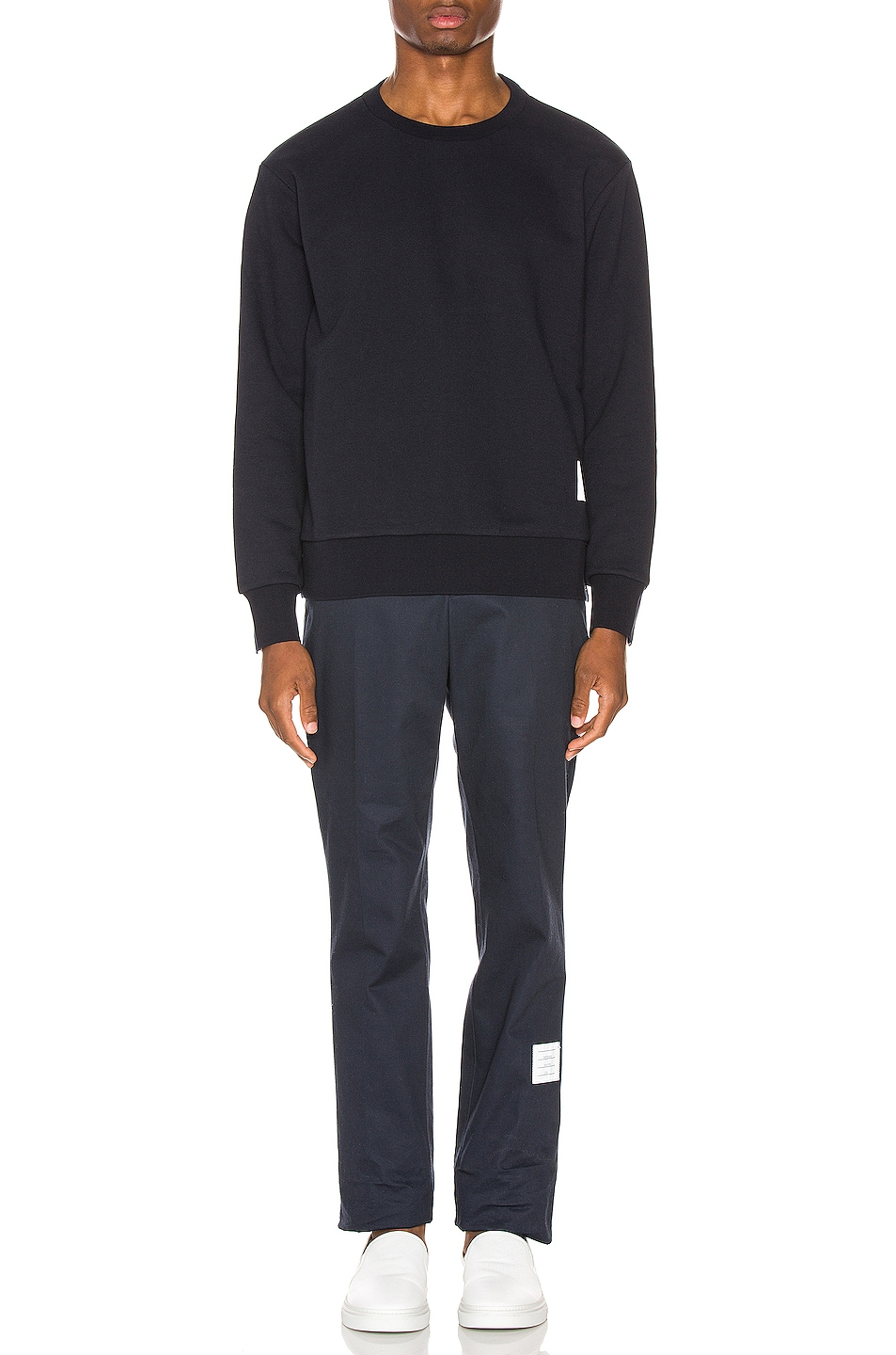 Image 6 of Thom Browne Striped Crewneck Pullover in Navy