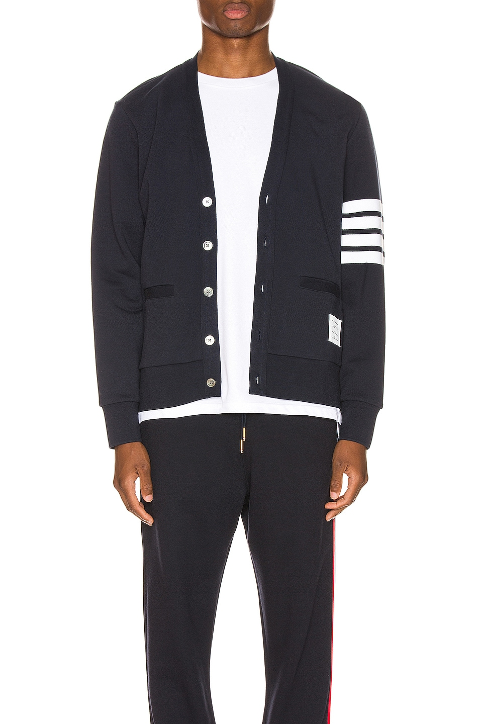 Image 1 of Thom Browne Jersey Cardigan in Navy