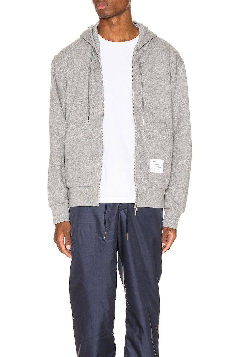 Image 2 of Thom Browne Zipper Hoodie in Light Grey