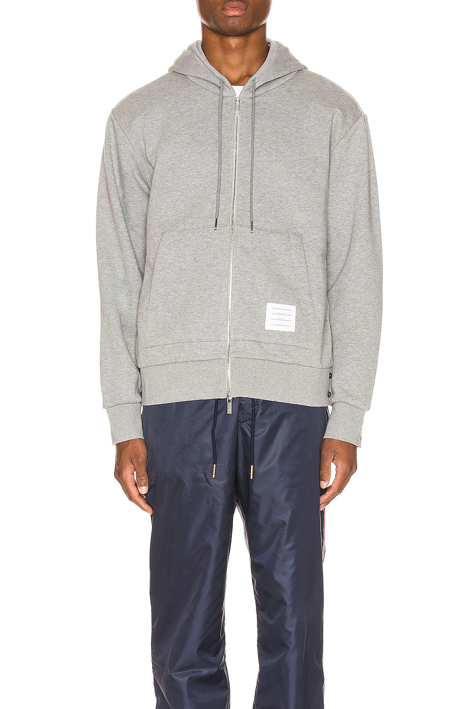 Image 3 of Thom Browne Zipper Hoodie in Light Grey