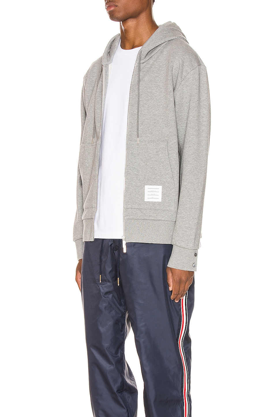 Image 5 of Thom Browne Zipper Hoodie in Light Grey