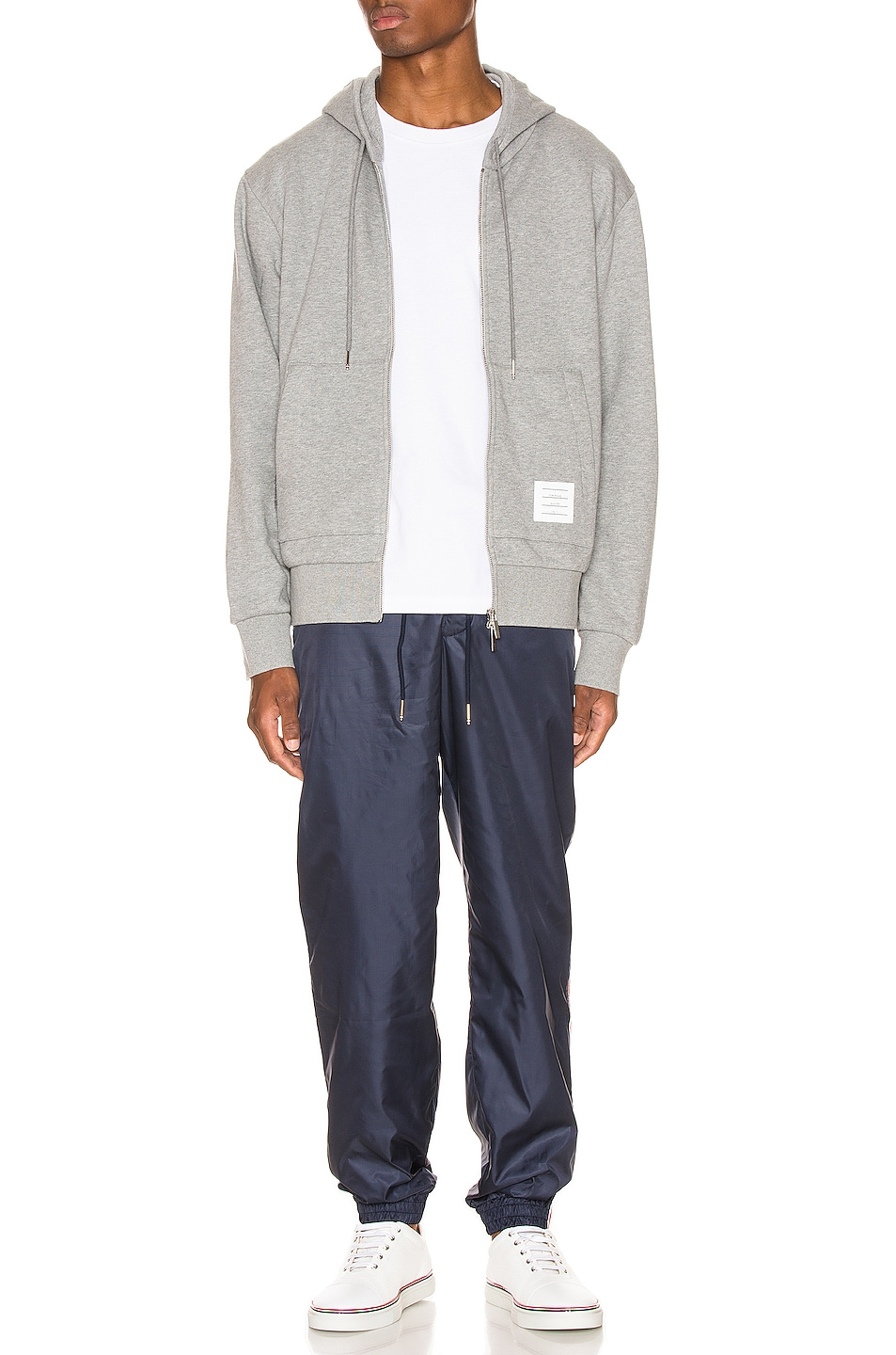 Image 7 of Thom Browne Zipper Hoodie in Light Grey