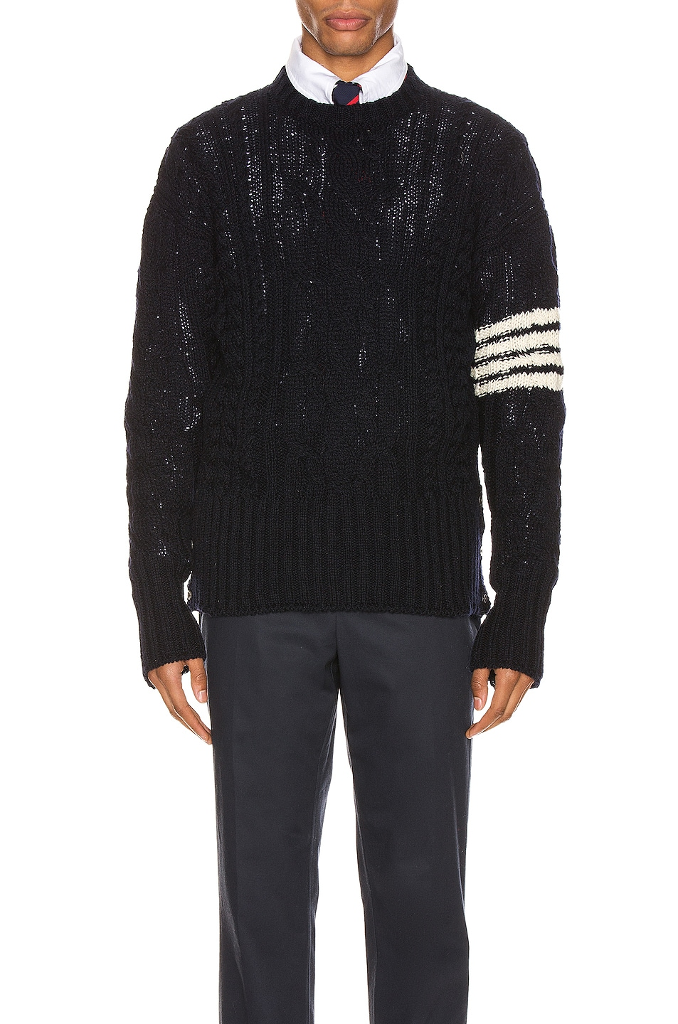 Image 1 of Thom Browne Aran Cable Pullover in Navy