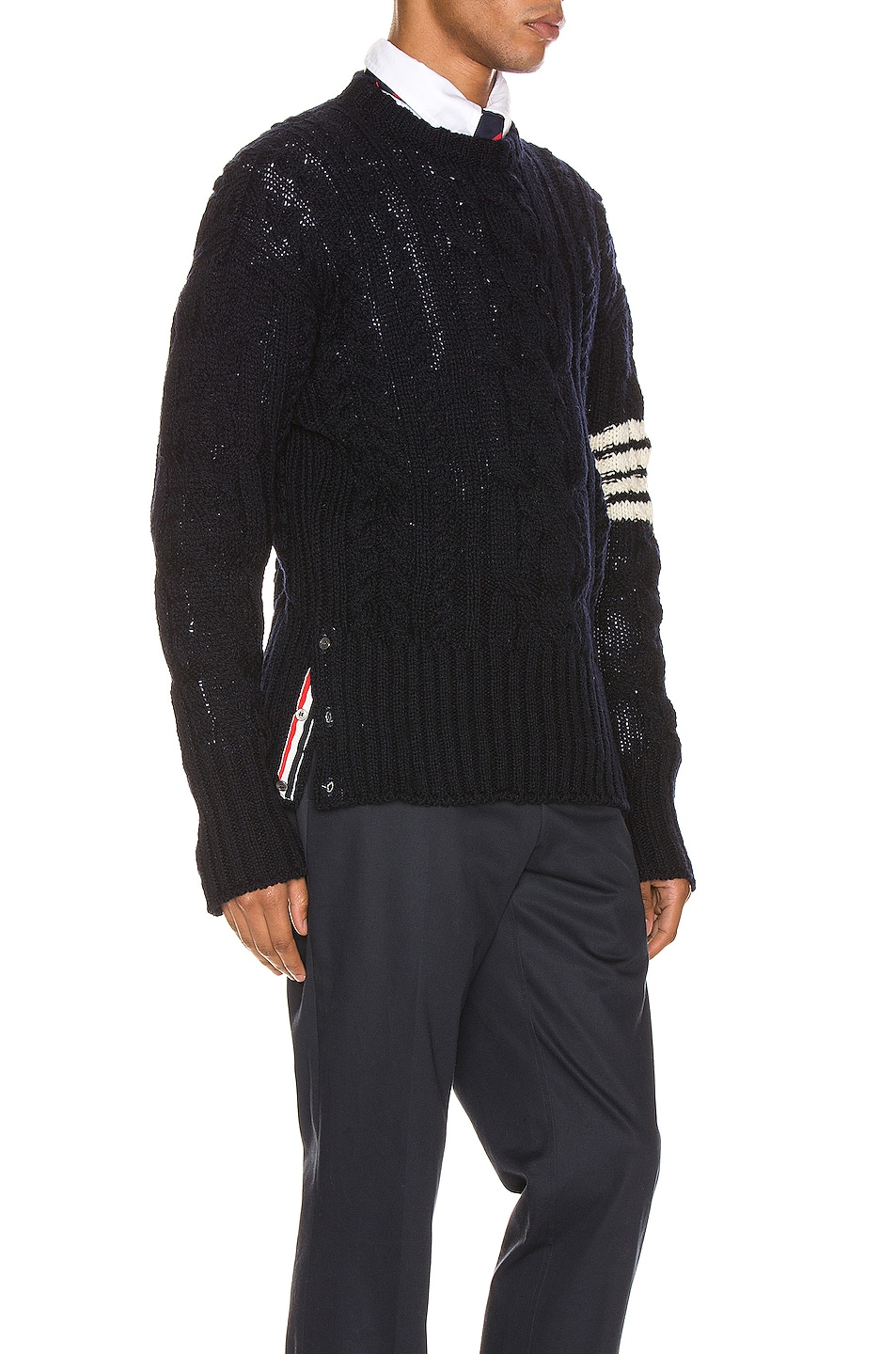 Image 2 of Thom Browne Aran Cable Pullover in Navy