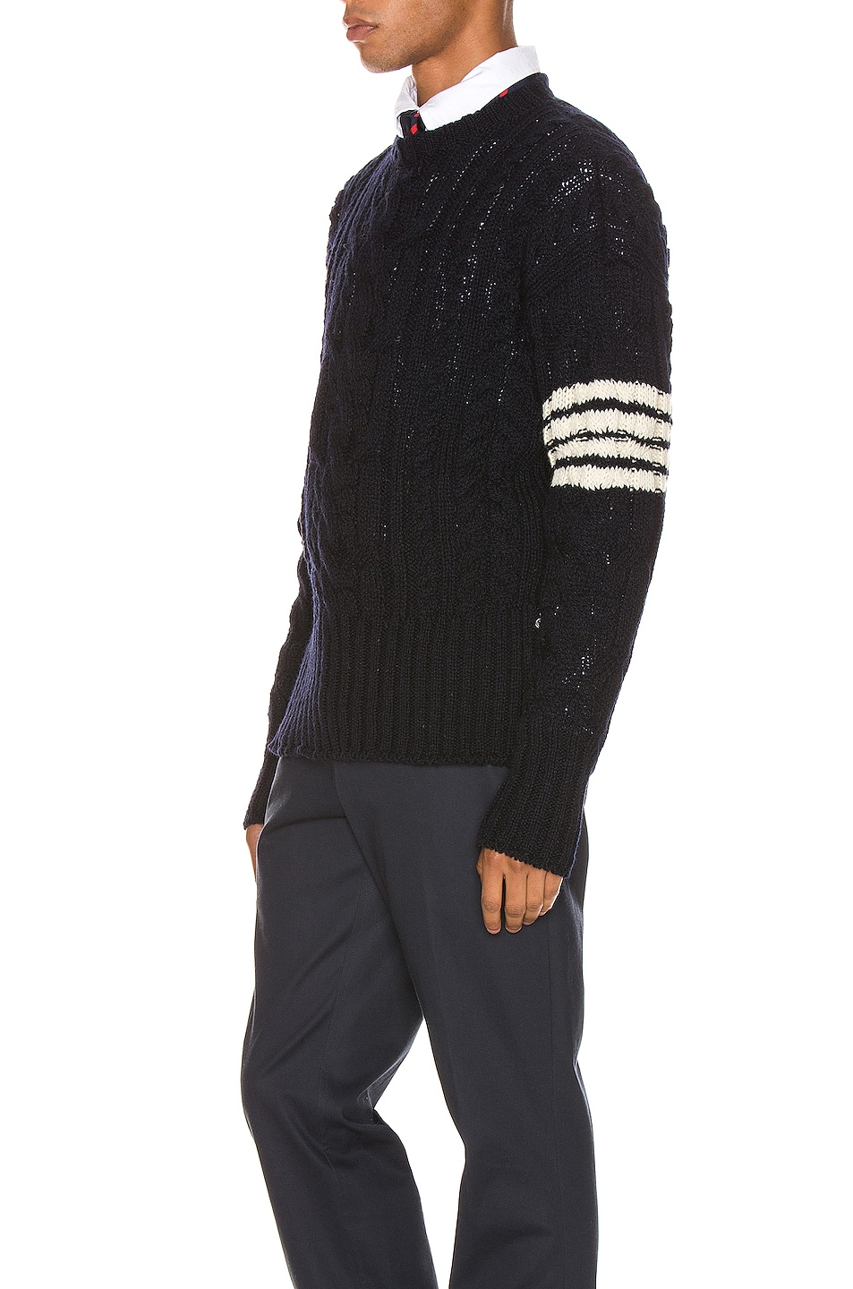 Image 3 of Thom Browne Aran Cable Pullover in Navy