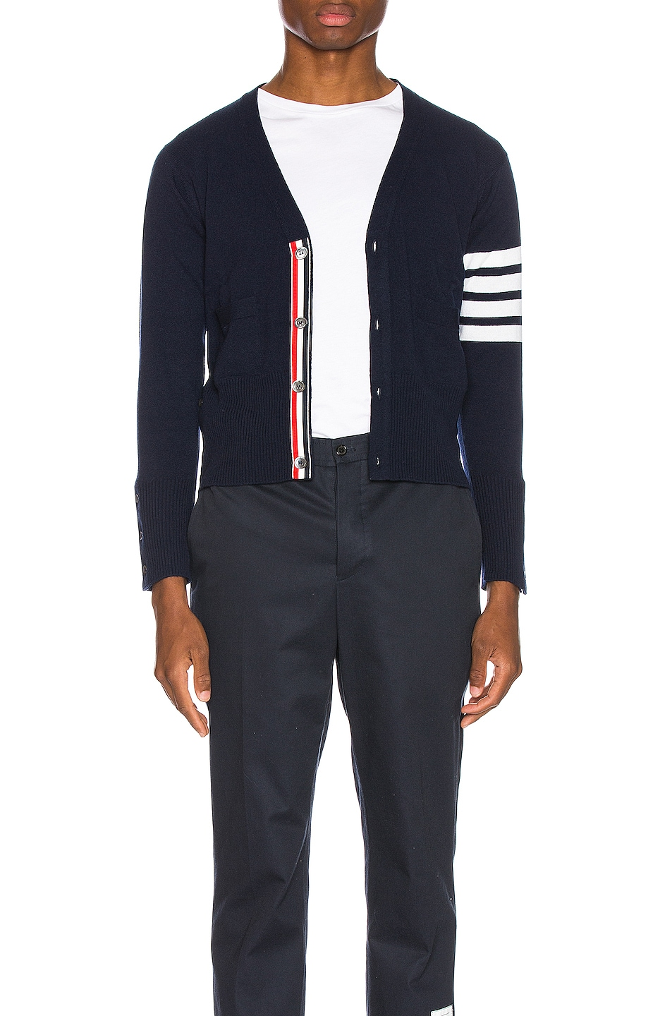 Image 1 of Thom Browne Cashmere Cardigan with Bar Stripe Sleeve in Navy