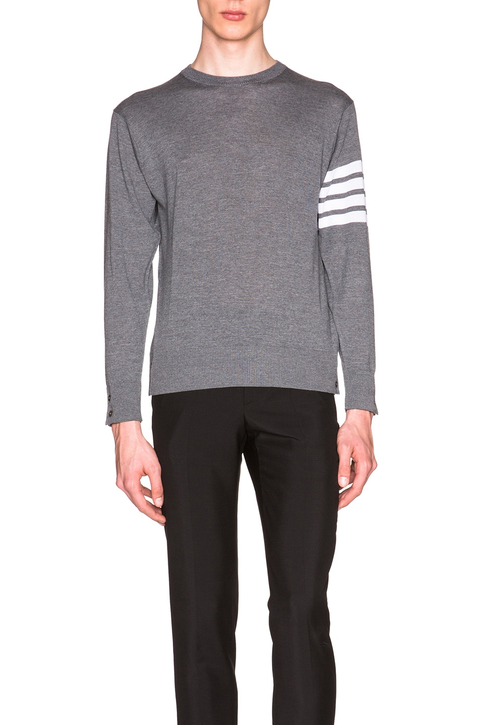 THOM BROWNE Merino Wool Crewneck Sweater, Light Gray
