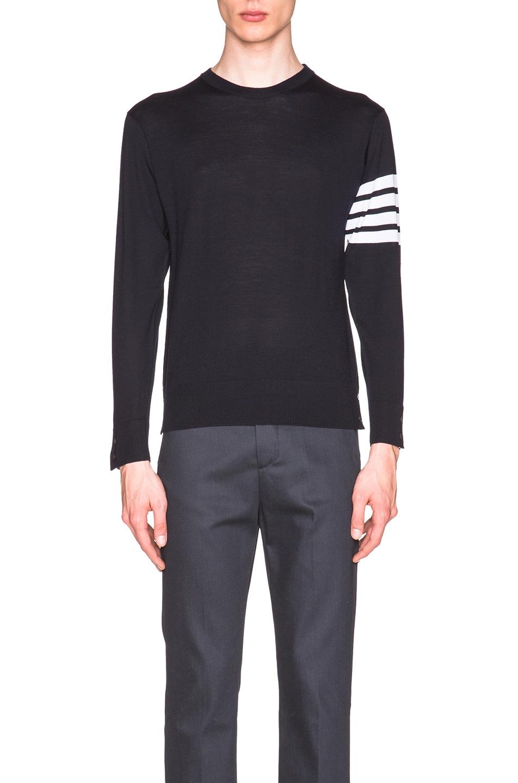 THOM BROWNE Intarsia Stripes Merino Wool Sweater, Blue