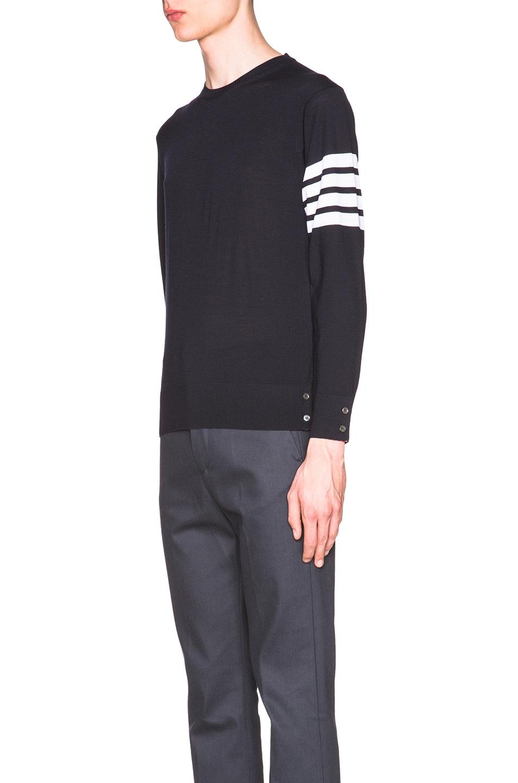 Image 2 of Thom Browne Classic Merino Crewneck Sweater in Navy