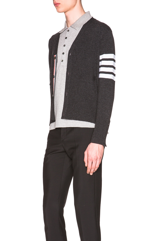 Image 3 of Thom Browne Classic Cashmere Cardigan in Dark Grey