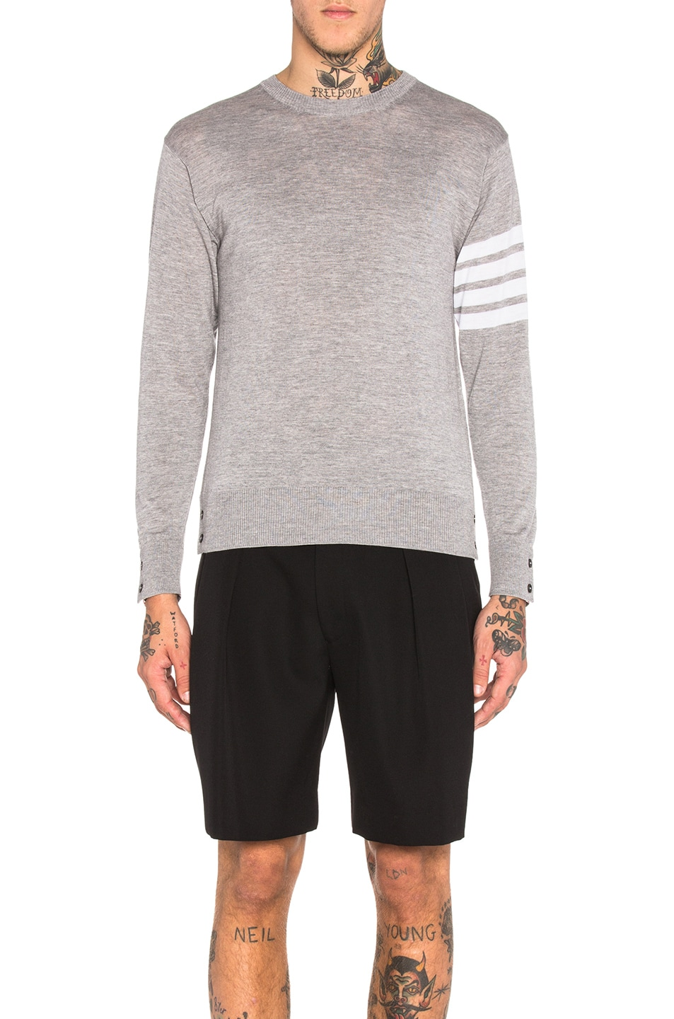 Image 1 of Thom Browne Classic Merino Crewneck Sweater in Light Heather Grey