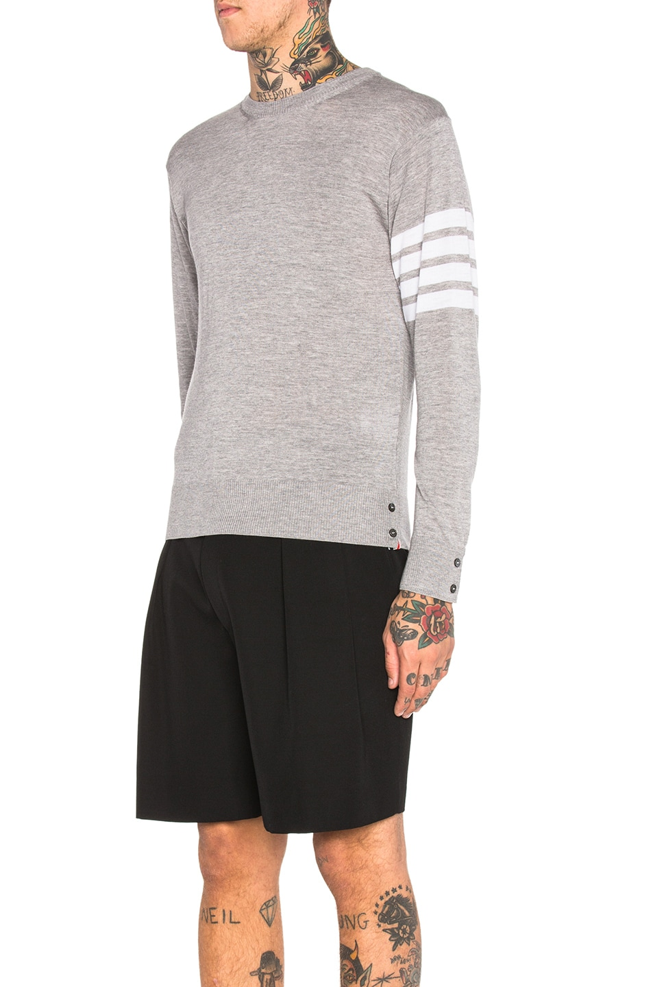 Image 2 of Thom Browne Classic Merino Crewneck Sweater in Light Heather Grey