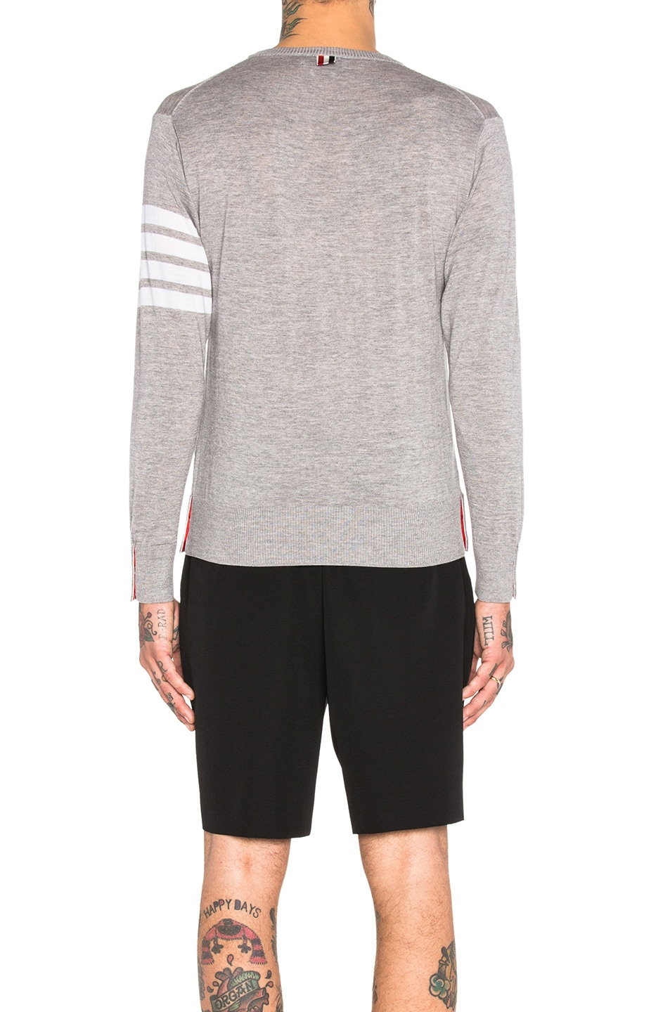 Image 4 of Thom Browne Classic Merino Crewneck Sweater in Light Heather Grey