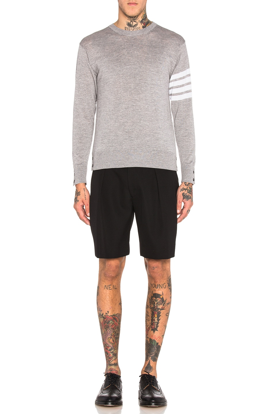 Image 5 of Thom Browne Classic Merino Crewneck Sweater in Light Heather Grey