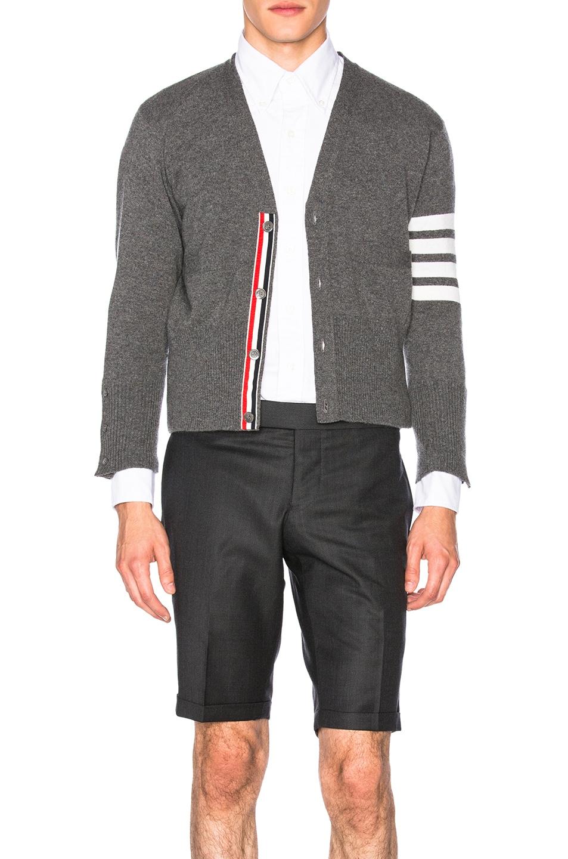 Image 1 of Thom Browne Classic Cashmere Cardigan in Medium Grey