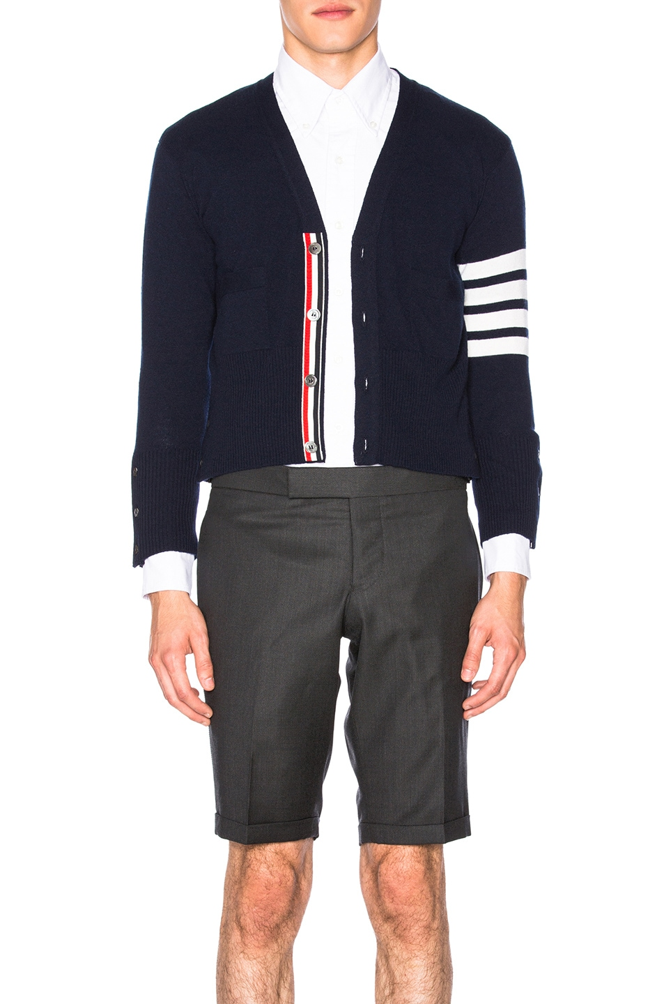 Image 1 of Thom Browne Classic Cashmere Cardigan in Navy