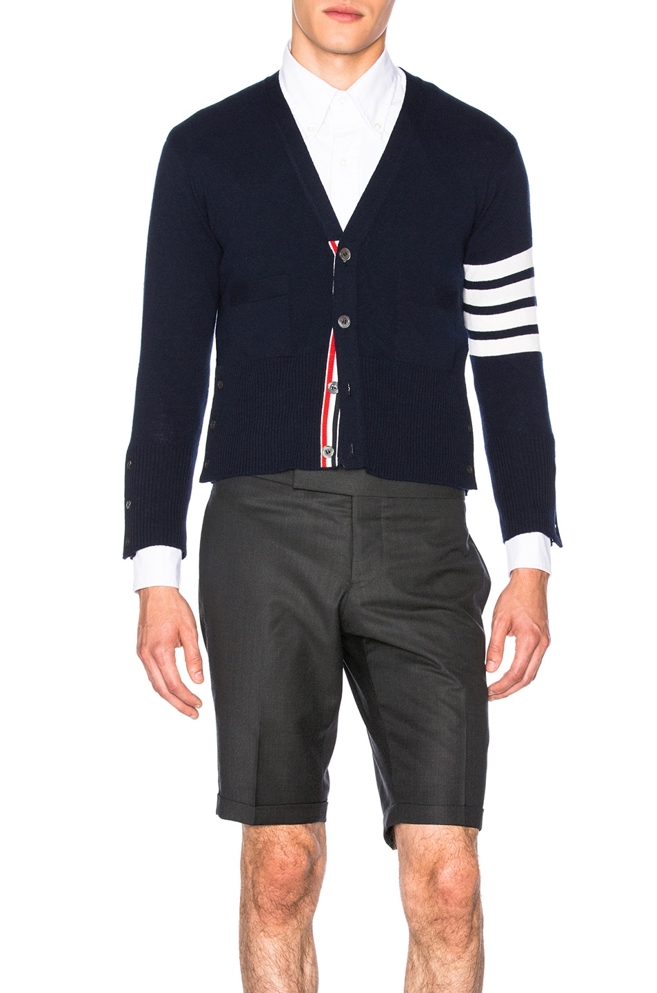 Image 2 of Thom Browne Classic Cashmere Cardigan in Navy