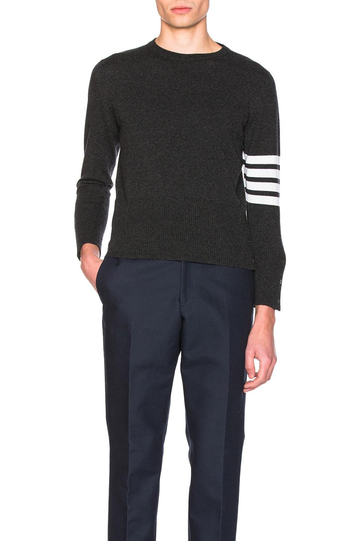 Image 1 of Thom Browne Classic Cashmere Crewneck Sweater in Dark Grey