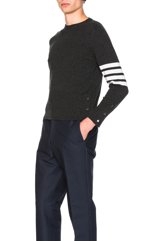 Image 2 of Thom Browne Classic Cashmere Crewneck Sweater in Dark Grey