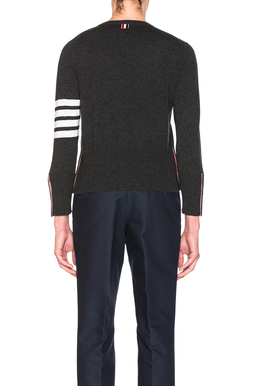 Image 4 of Thom Browne Classic Cashmere Crewneck Sweater in Dark Grey