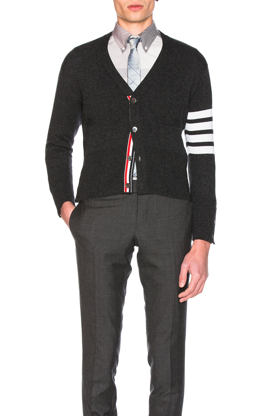 Image 1 of Thom Browne Classic Cashmere Cardigan in Dark Grey