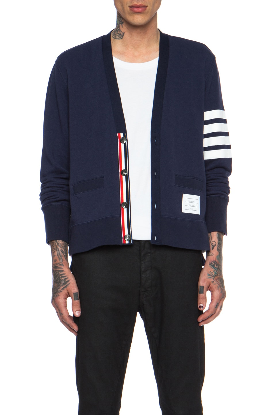 Thom Browne High Vent Cotton Cardigan in Navy | FWRD