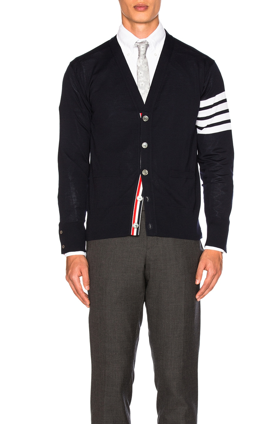 Image 1 of Thom Browne Classic Merino Cardigan in Navy