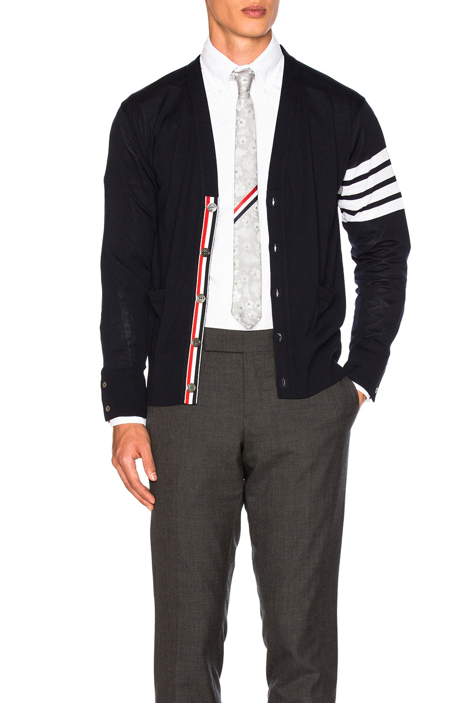 Image 2 of Thom Browne Classic Merino Cardigan in Navy