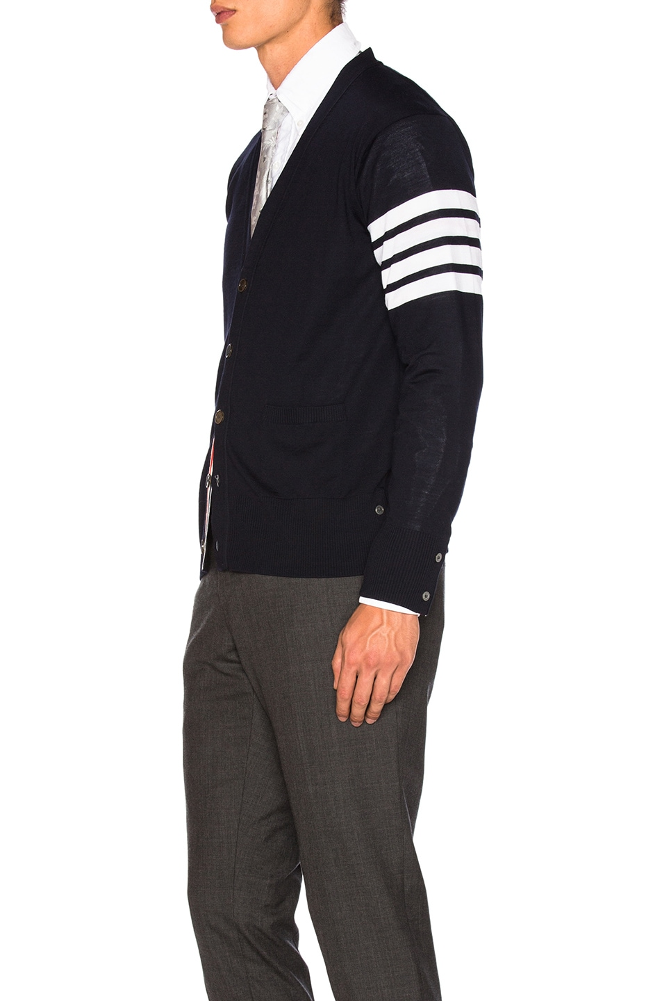 Image 3 of Thom Browne Classic Merino Cardigan in Navy