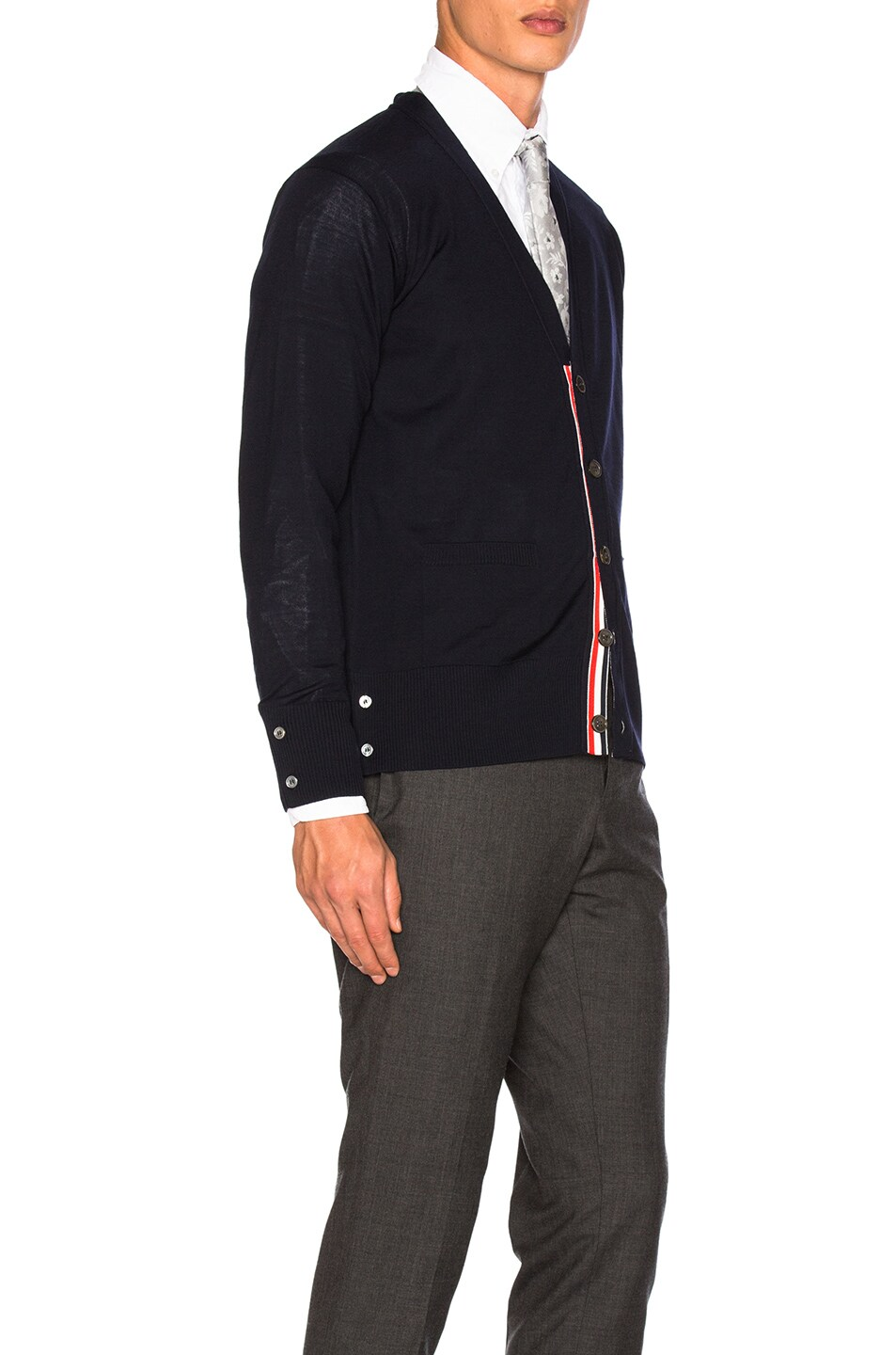 Image 4 of Thom Browne Classic Merino Cardigan in Navy