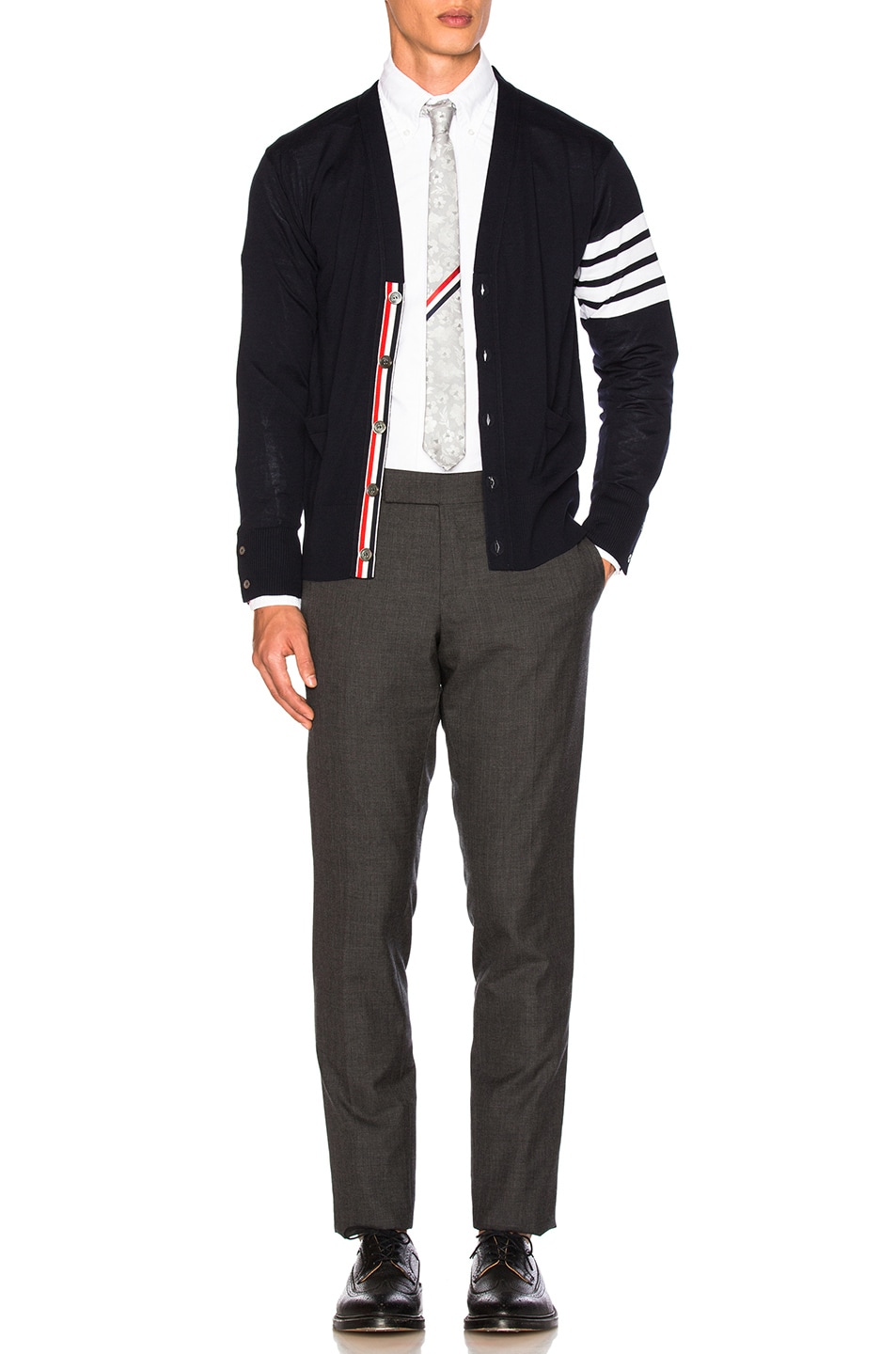 Image 6 of Thom Browne Classic Merino Cardigan in Navy