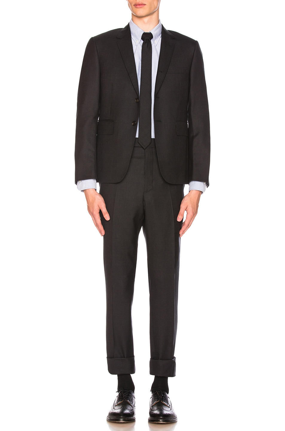 Image 1 of Thom Browne Classic Wool Suit in Charcoal