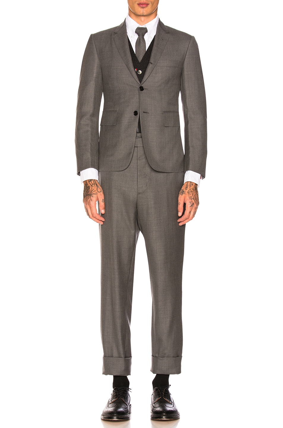 Image 2 of Thom Browne Classic Wool Suit in Medium Grey
