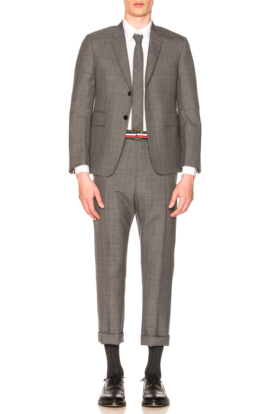 Image 1 of Thom Browne Classic Gingham Cool Wool Suit with Tie in Medium Grey