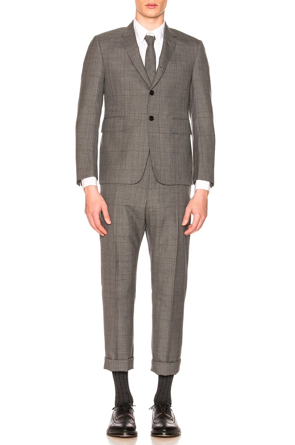 Image 2 of Thom Browne Classic Gingham Cool Wool Suit with Tie in Medium Grey